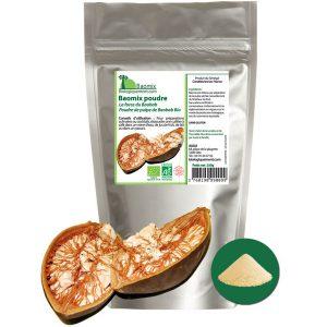 La poudre de fruit de Baobab bio Baomix produite par Biologiquement