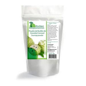 Poudre de feuilles de Corossol Graviola bio contre le cancer produites par Biologiquement