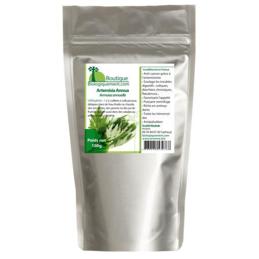 Armoise annuelle bio Artemisia annua riche en artemisinine plante feuille tige anticancer naturel en poudre