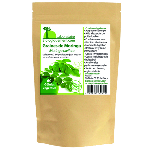Sachet de graines de Moringa bio produite par le laboratoire Biologiquement